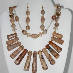 Natural Picture Jasper necklace/earrings  (#121)